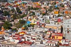W Guanajuato ładni kolorowi budynki Meksyk Obrazy Royalty Free