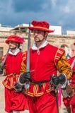 W Guardia paradzie przy St. Jonh kawalerami w Birgu, Malta. Zdjęcia Royalty Free