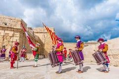 W Guardia paradzie przy St. Jonh kawalerami w Birgu, Malta. Fotografia Royalty Free