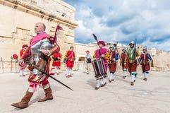W Guardia paradzie przy St. Jonh's kawalerami w Birgu, Malta. Obraz Stock