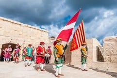 W Guardia paradzie przy St. Jonh's kawalerami w Birgu, Malta. Zdjęcia Stock