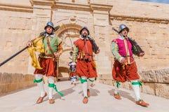W Guardia paradzie przy St Jonh&-x27; s kawalery w Birgu, Malta Zdjęcie Stock