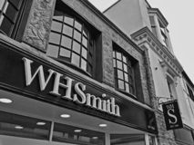 W H Smith in Weston-super-Mare, UK. W H Smith's newly refurbished shop in Weston-super-Mare, UK. The company's standard signage royalty free stock photos