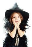 W Halloween kostiumu szczęśliwa dziewczyna Obrazy Royalty Free