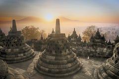 W Indonezja Świątynny Borobudur wschód słońca Fotografia Stock