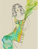W jaskrawy sukni piękna dziewczyna Obrazy Royalty Free