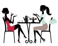 W kawiarni dwa kobiety ilustracji