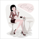 W Kawiarni Dziewczyna Obrazy Royalty Free