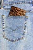 W kieszeni niebiescy dżinsy wkładająca paszport pokrywy gada skóra Obraz Stock