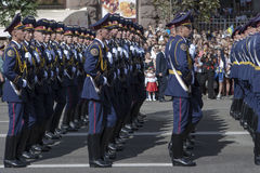 W Kijów na Khreshchatyk militarnej paradzie Obraz Stock