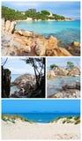 W kolażu Sardinia plaże obrazy stock