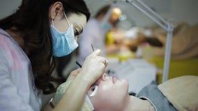 W kosmetologia pokoju wiele mistrzowie wzrastają rzęsy młode piękne dziewczyny zdjęcie wideo