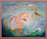 W krainie cudów Portret bawić się skrzypce w fantazi środowisku piękna dziewczyna Obraz olejny na kanwie Obrazy Stock