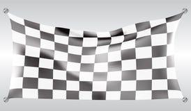W kratkę chorągwianej latanie fala projekta rasy tła biała ilustracja Zdjęcie Stock