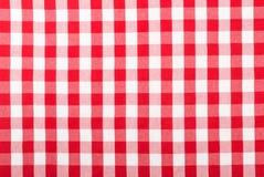 w kratkę czerwony tablecloth zdjęcia stock