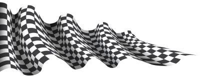 W kratkę flaga fala latanie na bielu dla sport rasy mistrzostwa tła biznesowego wektoru ilustracji