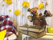 W kratkę szkocka krata na karle, waza, herbarium, zielony jabłko na tle drewniane deski i żółci jesień liście, obraz royalty free