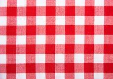 W kratkę tablecloth odizolowywający Obrazy Royalty Free