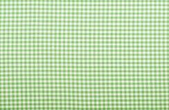 W kratkę zielona tkanina Fotografia Stock