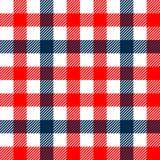 W kratkę gingham szkockiej kraty tkaniny bezszwowy wzór w błękitny białym i czerwieni, wektorowy druk Zdjęcia Royalty Free