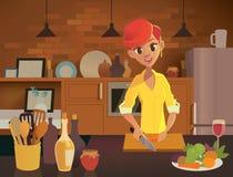 W kuchni kobiety kucharstwo Zdrowa łasowanie ilustracja Wektorowa ilustracja w Nowożytnym mieszkanie stylu royalty ilustracja
