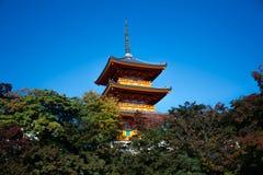 W Kyoto Kiyomizu-dera Świątynia, Japonia Fotografia Stock