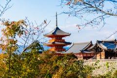 W Kyoto Kiyomizu-dera Świątynia, Japonia Zdjęcia Stock