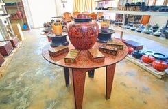 W lacquerware sala wystawowej w Bagan Obraz Stock