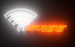 W-lan d'ardore della luce al neon liberamente rappresentazione 3d fotografia stock libera da diritti