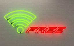 W-lan d'ardore della luce al neon liberamente rappresentazione 3D sul fondo nero fotografia stock libera da diritti