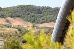 W Larderello władzy geotermiczna produkcja, Włochy Obraz Stock