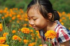 W lato ogródzie azjatycka mała dziewczynka Obraz Stock