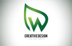 W Leaf Logo Letter Design with Green Leaf Outline Royalty Free Stock Photos