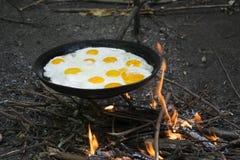 W lecie na naturze ogień w smaży niecce smażył eg. Zdjęcia Royalty Free