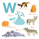 W letter animals set. English alphabet. Vector illustration Royalty Free Stock Photo