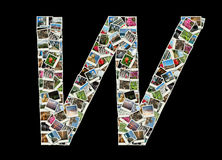 W letter - collage of travel photos Stock Photos