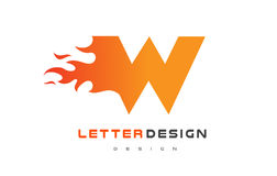 W Letter Flame Logo Design. Fire Logo Lettering Concept. Royalty Free Stock Photo