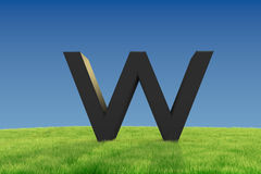 W letter on Grassland Stock Image
