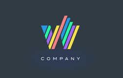 W Letter Logo with Colorful Lines Design Vector. Rainbow Letter. W Letter Logo Design with Colorful Rainbow Lines Vector. Rainbow Letter Icon Illustration Royalty Free Stock Image