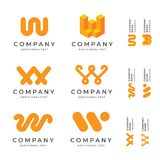 W Letter Logos Set Pack Modern Identity Brand Icons Business Symbol Concept Template. W Letter Modern Logos Identity Brand Icons Business Symbol Concept Set Stock Photography
