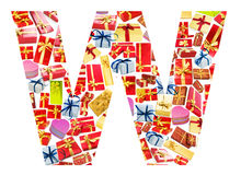W Letter  made of giftboxes Royalty Free Stock Photo