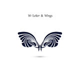 W-letter sign and angel wings.Monogram wing vector logo template Royalty Free Stock Photo