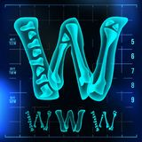 W Letter Vector. Capital Digit. Roentgen X-ray Font Light Sign. Medical Radiology Neon Scan Effect. Alphabet. 3D Blue. Light Digit With Bone. Medical, Hospital Royalty Free Stock Photo
