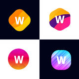 W letter vector company icon signs flat symbols logo set Stock Image