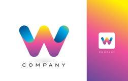 W Logo Letter With Rainbow Vibrant Mooie Kleuren W Kleurrijk T Stock Foto