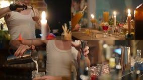 4 w 1: Młody fachowy barman pracuje z różnymi napojami zbiory