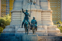 W Madryt Miguel zabytek De Cervantes Obrazy Royalty Free