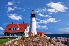 W Maine Kierownicza Portland Latarnia morska Obrazy Stock