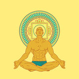W medytaci pozie mężczyzna obsiadanie Fotografia Stock