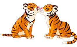 W Miłości dwa Tygrysa Obrazy Stock
